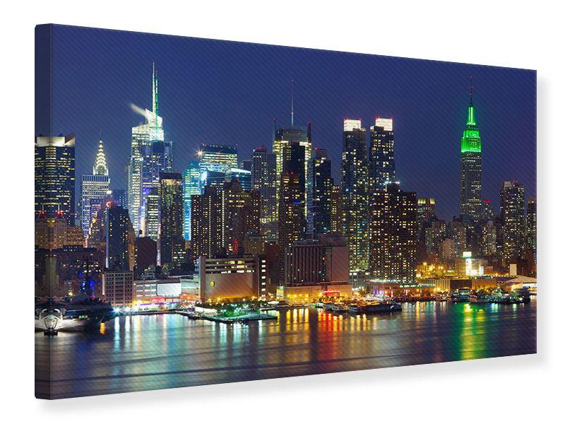 Leinwandbild Skyline New York Midtown bei Nacht