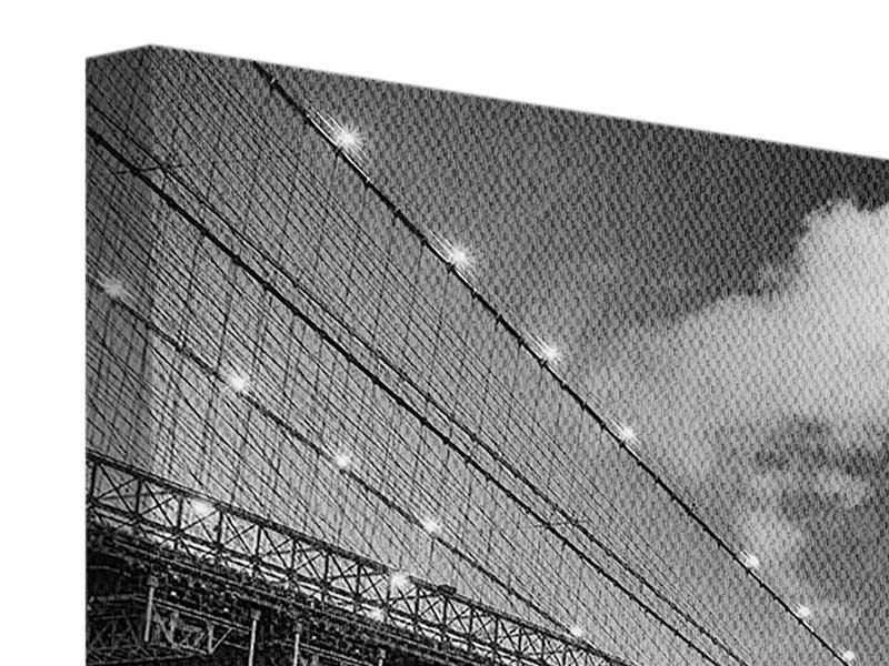 Leinwandbild modern Skyline Schwarzweissfotografie Brooklyn Bridge NY