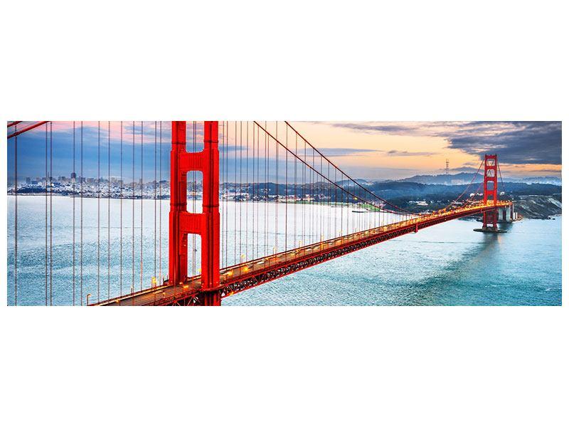 Leinwandbild querformat Panorama Der Golden Gate Bridge bei Sonnenuntergang