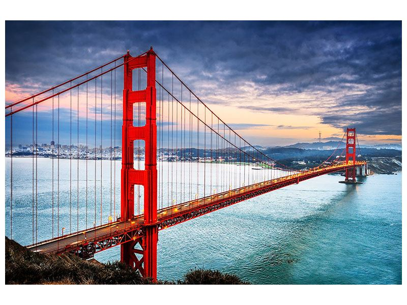 Leinwandbild rot blau der Golden Gate Bridge bei Sonnenuntergang