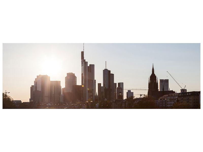 Modernes Leinwandbild Panorama Skyline Sonnenaufgang bei Frankfurt am Main
