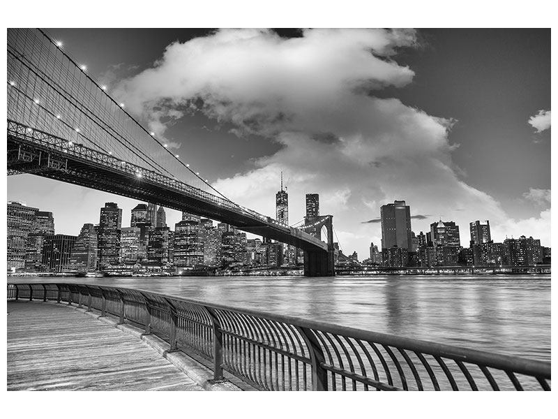 Modernes Leinwandbild Skyline Schwarzweissfotografie Brooklyn Bridge NY
