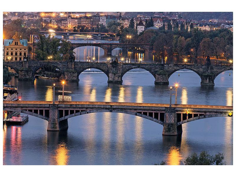 Querformat Leinwandbild Brücken in Prag bei Nacht