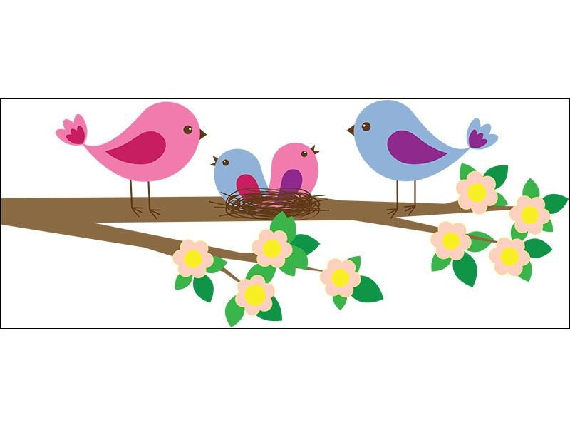 Wandtatto Vogelfamilie Vögel günstig