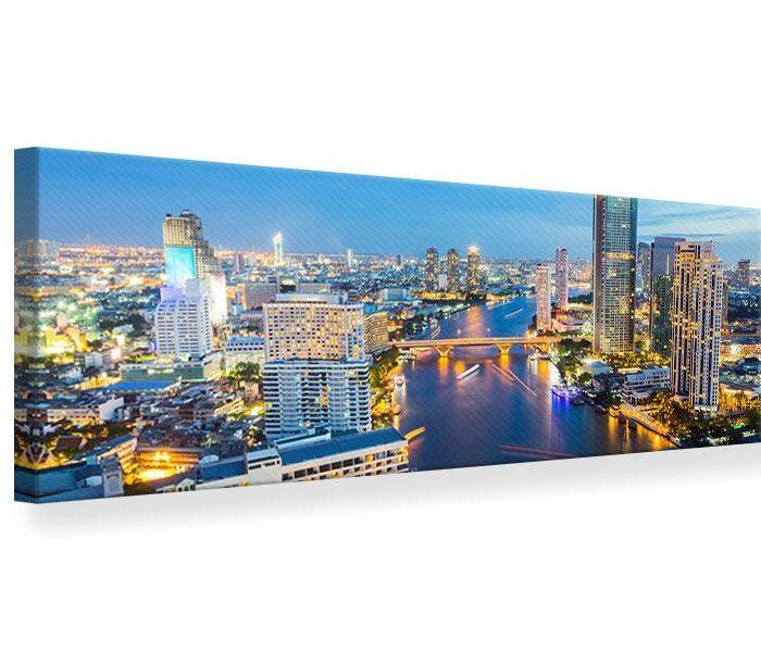 Leinwandbild Blau Bangkok Panorama