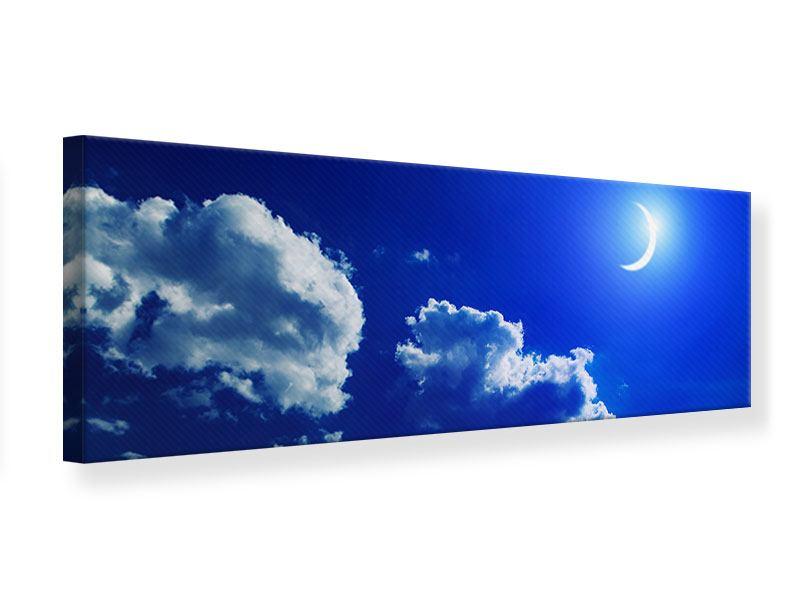 Leinwandbild Blau Der Mond Panorama