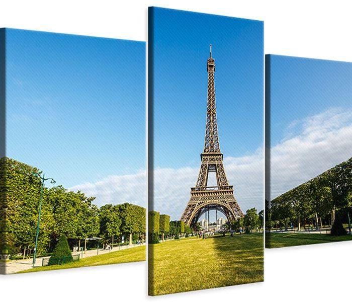 Leinwandbild Blau Eifelturm Paris 3-teilig