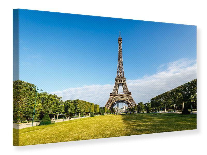 Leinwandbild Blau Eiffelturm querformat