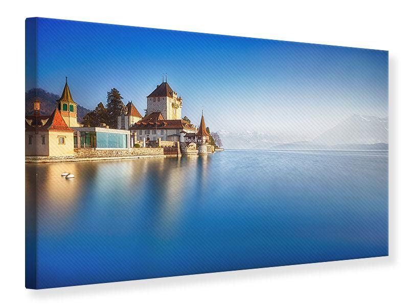 Leinwandbild Blau Schloss Oberhofen querformat