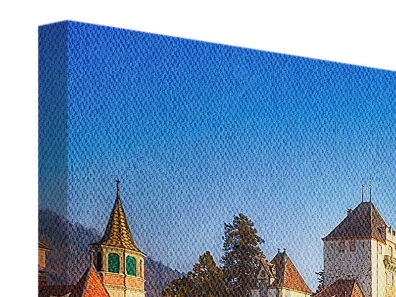 Leinwandbild Blau Schloss Oberhofen