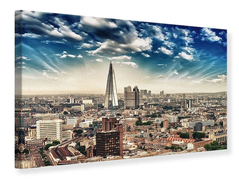 Leinwandbild Blau Skyline London querformat