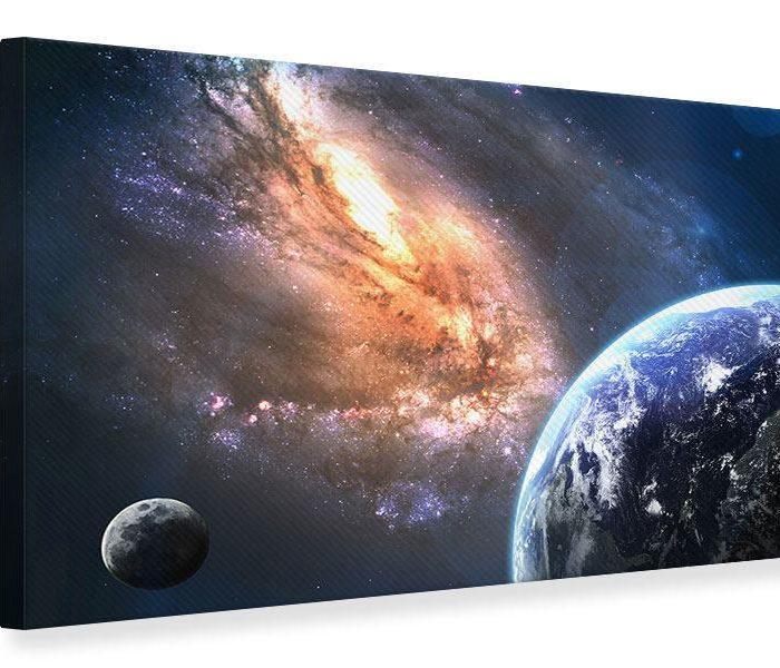 Leinwandbild Blau Universus Querformat