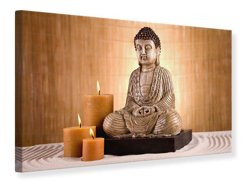 Leinwandbild Buddha Figur in der Meditation querformat