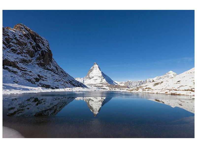 Leinwandbild-Der-Riffelsee-am-Matterhorn Querformat