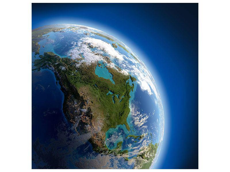 Leinwandbild-Die-Erde blau quadratisch