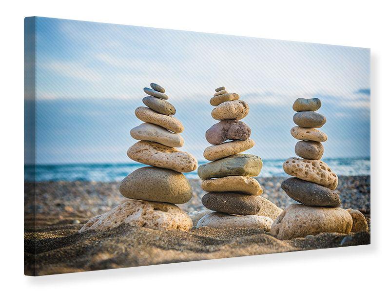 einwandbild Drei Steinstapel querformat