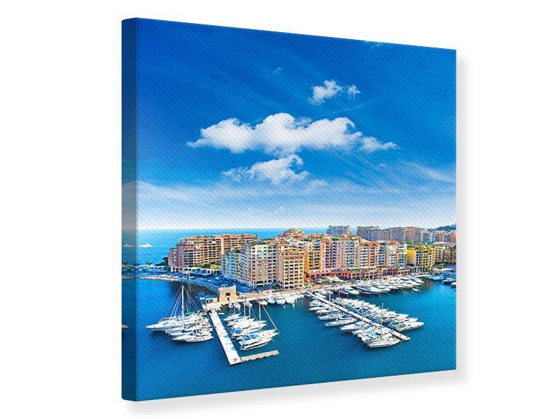 Leinwandbild Farbe Jachthafen Monaco quadratisch