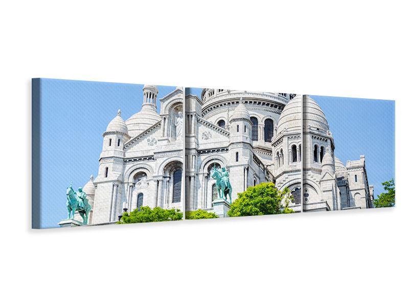 Leinwandbild Hellblau Paris Montmartre 3-teilig