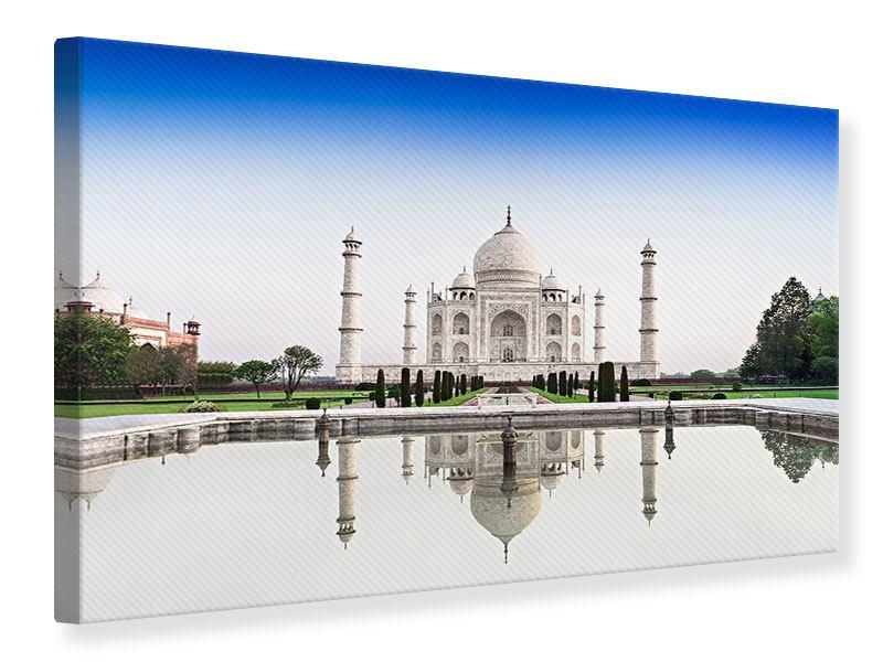 Leinwandbild Hellblau Taj Mahal querformat