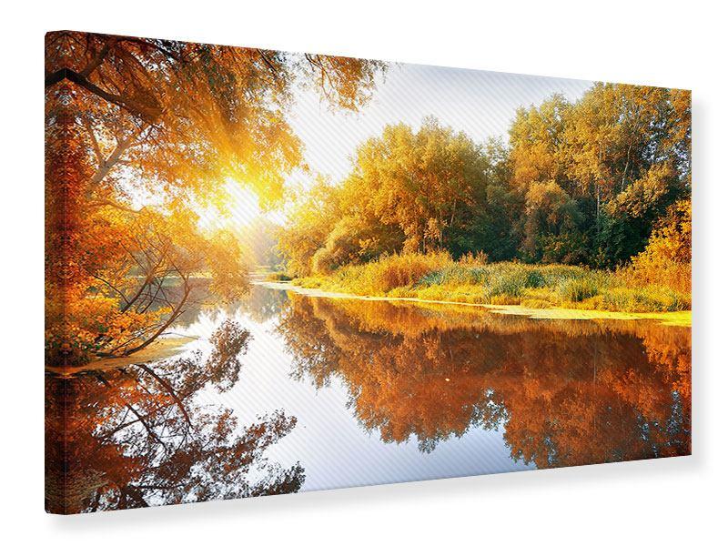 Leinwandbild Herbstfarben Waldspiegelung-im-Wasser querformat