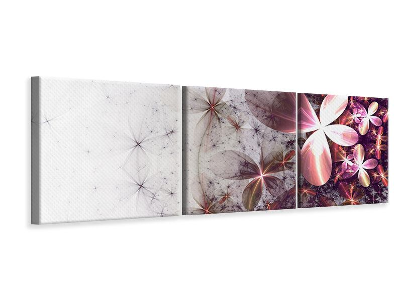 Leinwandbild Lila Blumen 3-teilig