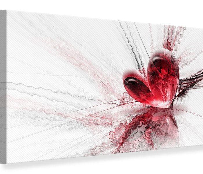 Leinwandbild Rot Herzspiegelung Querformat