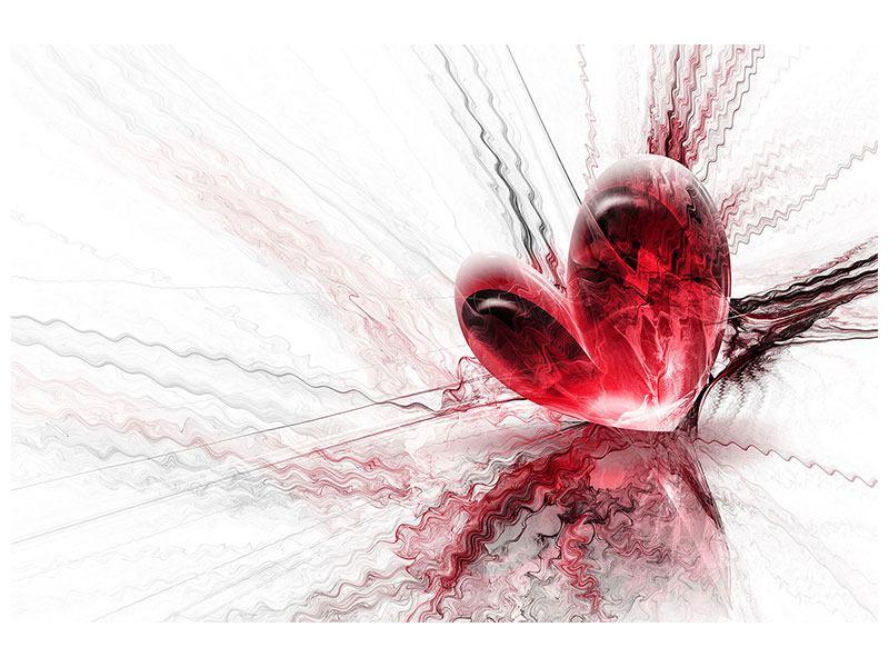 Leinwandbild Rot Herzspiegelung