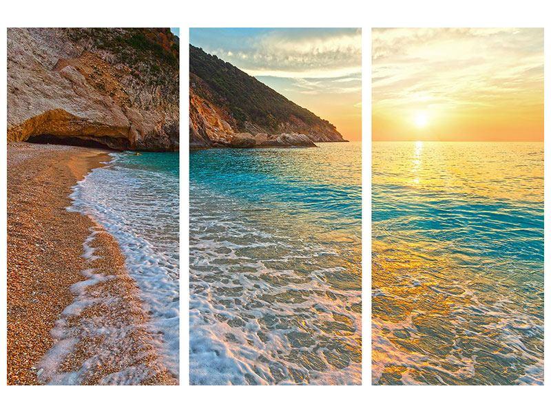 Leinwandbild-Strandaussicht Sonnenuntergang 3-teilig
