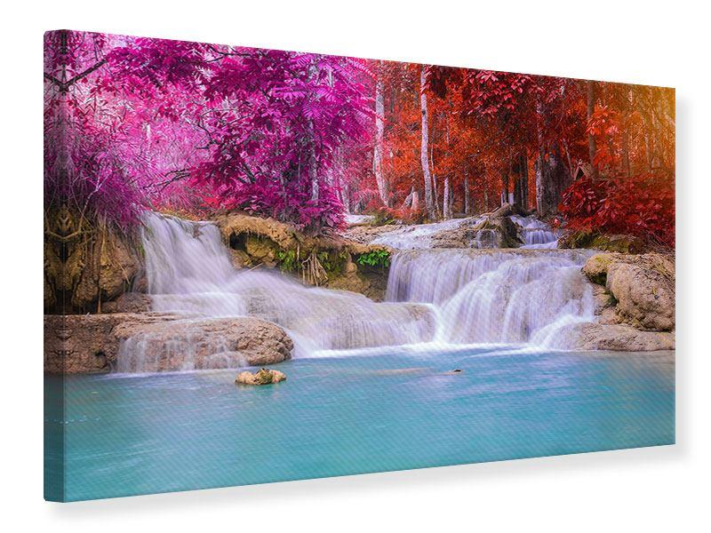 Leinwandbild- bunt Paradiesischer Wasserfall Querformat