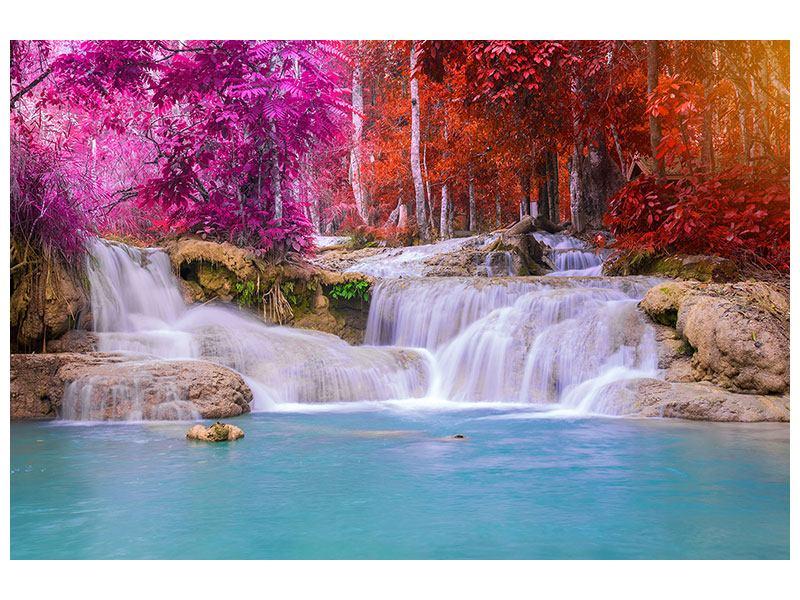 Leinwandbild bunt Paradiesischer Wasserfall