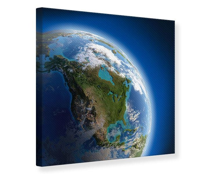 Leinwandbild quadratisch Die-Erde blau