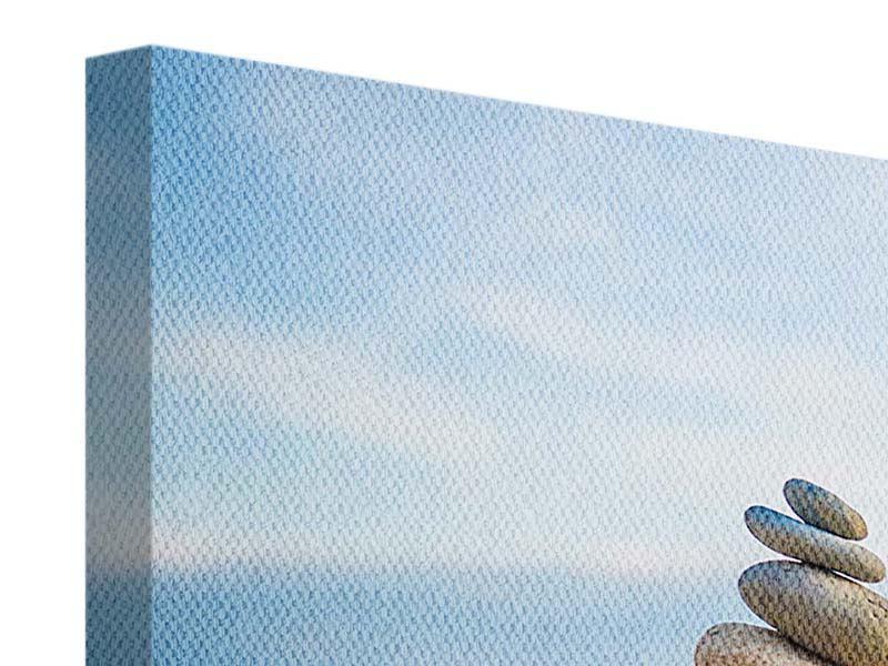 Querformat Leinwandbild Drei Steinstapel